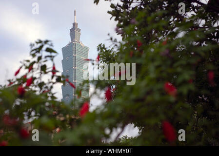 Taipei 101 as seen from the Sun Yat Sen memorial in Taipei, Taiwan - Stock Photo