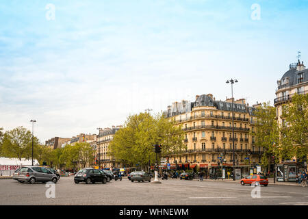 PARIS, FRANCE - May 7 : beautiful Street view of  Buildings around Paris city. Paris is the capital and most populous city of France. May 7, 2016, in - Stock Photo