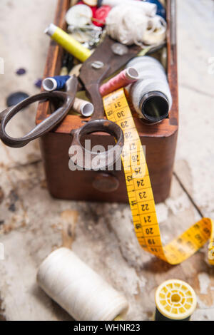 High Angle View Of Various Sewing Items On Table - Stock Photo