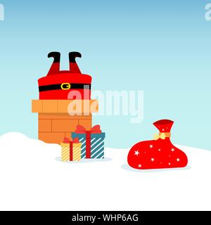 Vector illustration of Santa Claus on roof, diving into chimney, with boxed gifts lying around in snow. Christmas and New Year design greeting cards. - Stock Photo