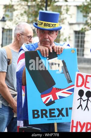London, UK. 02nd Sep, 2019. Leading Anti Brexit campaigner Steve Bray holds a placard during the Stop Brexit, Stop the Coup, Pro Democracy demonstration outside the Cabinet Office. Credit: SOPA Images Limited/Alamy Live News - Stock Photo