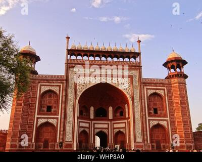 Low Angle View Of Gateway To Taj Mahal Against Sky - Stock Photo