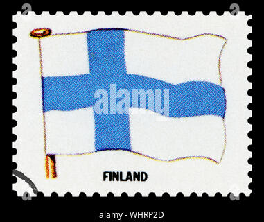 FINLAND FLAG - Postage Stamp isolated on black background. - Stock Photo