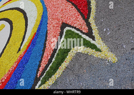 flower petals, grains, rice, beans and seeds making an abstract pattern in of Castelraimondo in the Marche region of Italy to celebrate Corpus Christi - Stock Photo