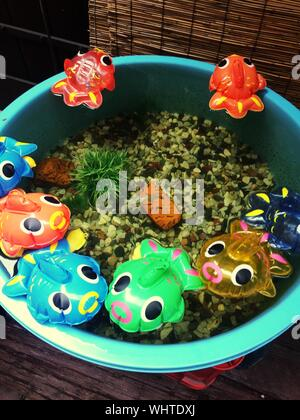 Close-up Of Colorful Toy Fish In Water Bucket - Stock Photo
