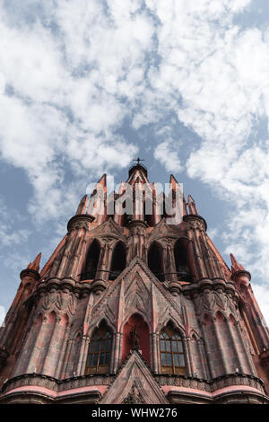 Low Angle View Of La Parroquia De San Miguel Arcangel Church Against Sky - Stock Photo