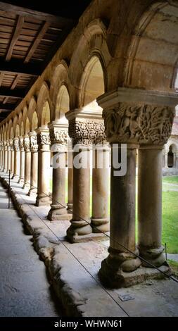 Architectural Columns At Colegiata Y Claustro De Santa Juliana - Stock Photo