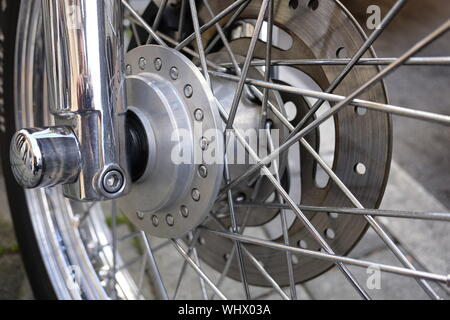 Close-up Of Motorcycle Wheel - Stock Photo