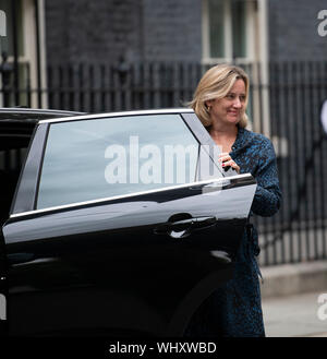 2nd September 2019. Amber Rudd arrives in Downing Sreeet for special cabinet meeting. She resigns from Cabinet on 7th September 2019. - Stock Photo