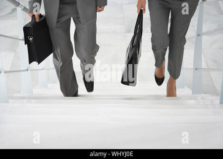 Lowsection of two businesspeople walking up stairs with bags in office - Stock Photo