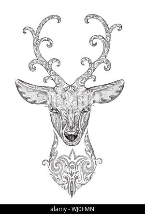 Stylized image of a beautiful forest deer head with horns, with patterns. Tattoo in black and white graphics - Stock Photo