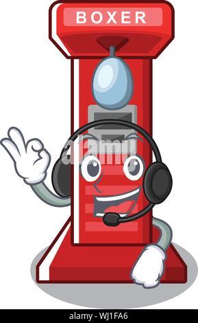 With headphone boxing game machine in cartoon shape - Stock Photo
