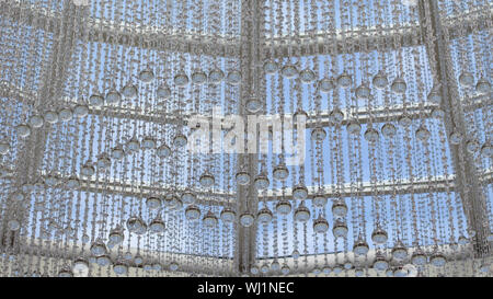 Glass bead garland with large drops of water. Interior design, transparent beads. Holiday decoration of the shopping center. Background wallpaper deco - Stock Photo