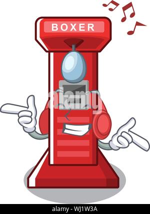 Listening music boxing game machine in the character - Stock Photo