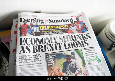Evening Standard newspaper headline on front page 'Economy Shrinks as Brexit Looms'  9 August 2019  London UK - Stock Photo