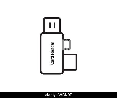 Usb card reader icon outline style vector image - Stock Photo