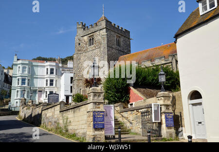 The parish church of St. Clement in Hastings Old Town in East Sussex - Stock Photo