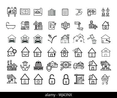 Real Estate icons in for any purposes. Perfect for website mobile app presentation and any other projects. Suitable for any user interface. - Stock Photo