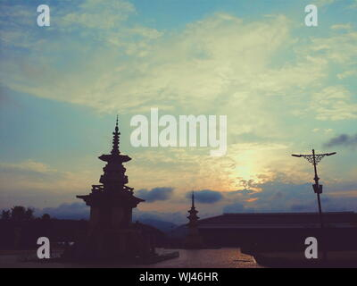 Dabotap At Bulguksa Temple Against Cloudy Sky During Sunset - Stock Photo