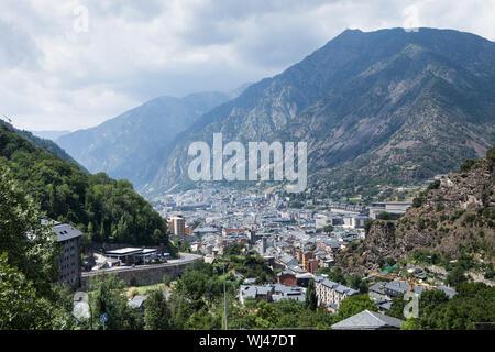 Panoramic Aerial view of the Andorra la Vella, Andorra - Stock Photo