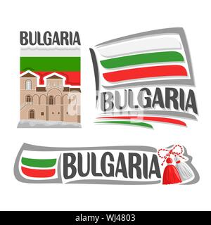 Vector logo for Bulgaria, 3 isolated illustrations: Asenova Fortress on background of national state flag, symbol of Bulgaria architecture and bulgari - Stock Photo