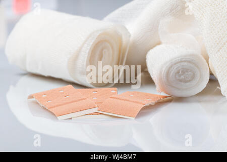 Close Up Of Bandages On Table - Stock Photo
