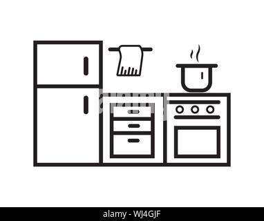 kitchen furniture on a white background. vector illustration - Stock Photo