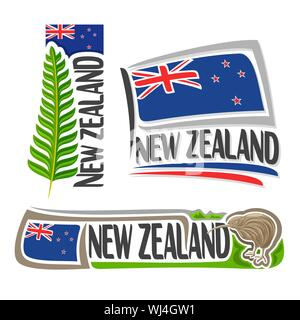 Vector logo for New Zealand, 3 isolated images: vertical banner with branch of green fern leaf on background of NZ national state flag and symbol of n - Stock Photo