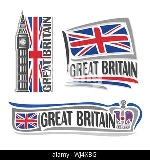 Vector illustration logo for Great Britain architecture, 3 isolated illustrations: flag Union Jack with Big Ben, british english symbol of United King - Stock Photo