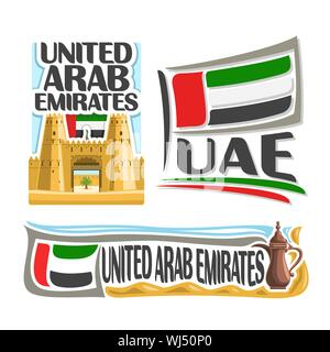 Vector logo for United Arab Emirates, 3 isolated posters: banner jahili fort in al ain on UAE national state flag and arabic coffee pot in sand of des - Stock Photo