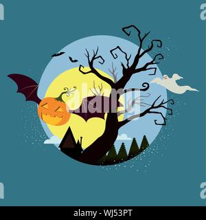 Flying pumpkin, Jack-o-lantern with bat wings laughing and flying over night sky on dark blue background. Silhouette of trees and ghost flying in the - Stock Photo
