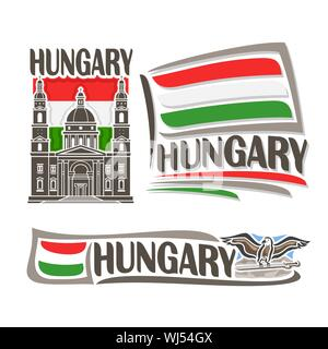 Vector logo for Hungary, consisting of 3 isolated illustrations: St. Stephen's Basilica on background of national state flag, symbol of Hungary and hu - Stock Photo