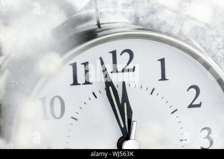 New Year clock moments before midnight. - Stock Photo