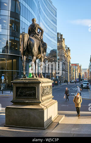 Statue of Duke of Wellington in Glasgow, UK - Stock Photo