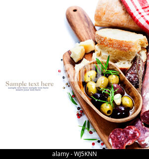 Italian salami with olives and ciabatta on white background (with easy removable sample text) - Stock Photo