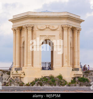 Chateau d'Eau palace - water tower in the end of aqueduct in Montpellier, France. - Stock Photo