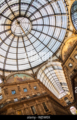 Galleria Vittorio Emanuele II, Milan, Italy - The world's most elegant glass-domed covered arcade. - Stock Photo
