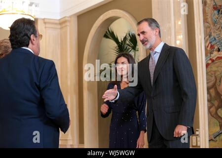 Madrid, Spain. 03rd Sep, 2019. Madrid Spain; 03/09/2019.- Felipe VI and Letizia Kings of Spain receive in audience the delegation of the Spanish committee of representatives of persons with disabilities at the Zarzuela Palace.Credit: Juan Carlos Rojas/Picture Alliance | usage worldwide/dpa/Alamy Live News - Stock Photo