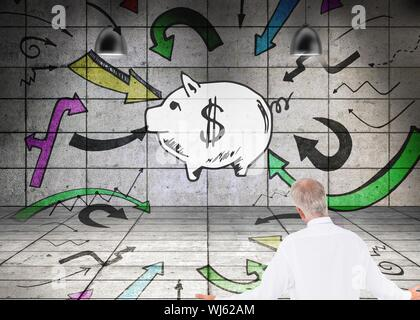 Composite image of surprised mature businessman posing in 3d room with illustrations on wall - Stock Photo