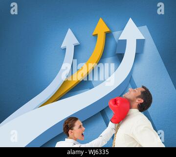 Composite image of businesswoman hitting a businessman with boxing gloves in front of arrows on blue background - Stock Photo