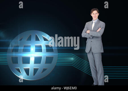Composite image of assertive businessman standing in front of the camera - Stock Photo
