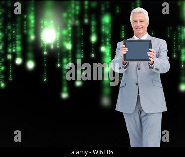 Composite image of boss showing a touch pad screen against a white background - Stock Photo