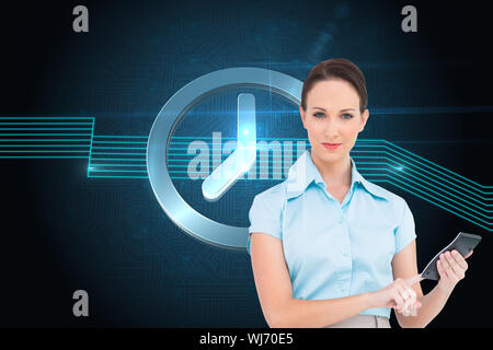 Composite image of serious classy businesswoman using calculator - Stock Photo