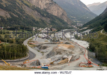 Under construction motorway near Mont-Blanc Tunnel entrance, Courmayeur, Italy, September 2005 - Stock Photo