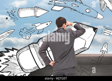 Composite image of businessman standing hand on hip peering - Stock Photo