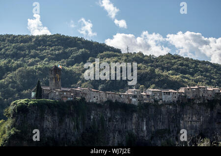Scenic View Of Village In Castellfollit De La Roca - Stock Photo