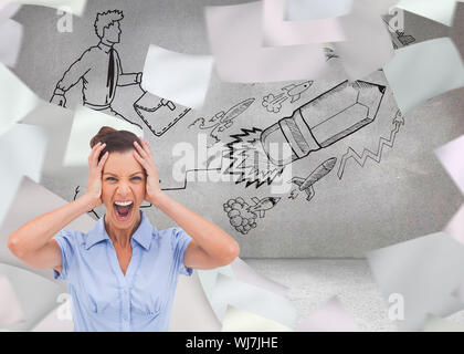 Composite image of stressed businessswoman with hand on her head looking at the camera - Stock Photo
