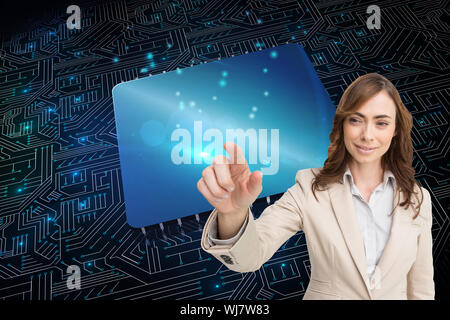 Composite image of portrait of businesswoman touching invisible screen - Stock Photo