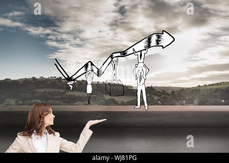 Composite image of smiling businesswoman raising her hand - Stock Photo