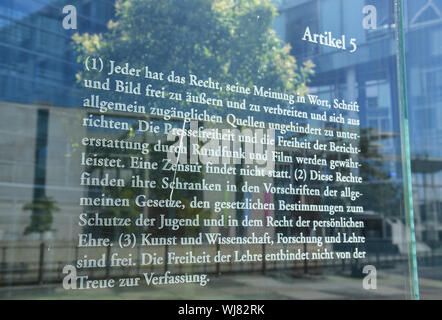 Article, article 5, Berlin, the Bundestag, Dani Karavan, Germany, glass, windowpane, windowpanes, glass wall, basic law, basic law 49, fundamental rig - Stock Photo